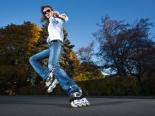 Free Fast Rollerblading Royalty Free Stock Photos - 16707898
