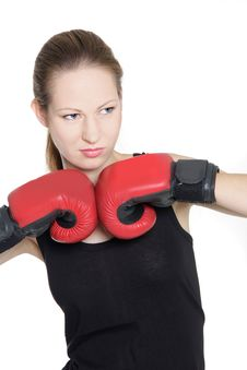 Free Female Boxer Over White Stock Images - 16708744