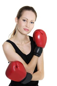 Free Female Boxer Over White Stock Photo - 16708750