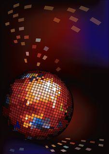 Dark Background With Disco Ball. Royalty Free Stock Photo