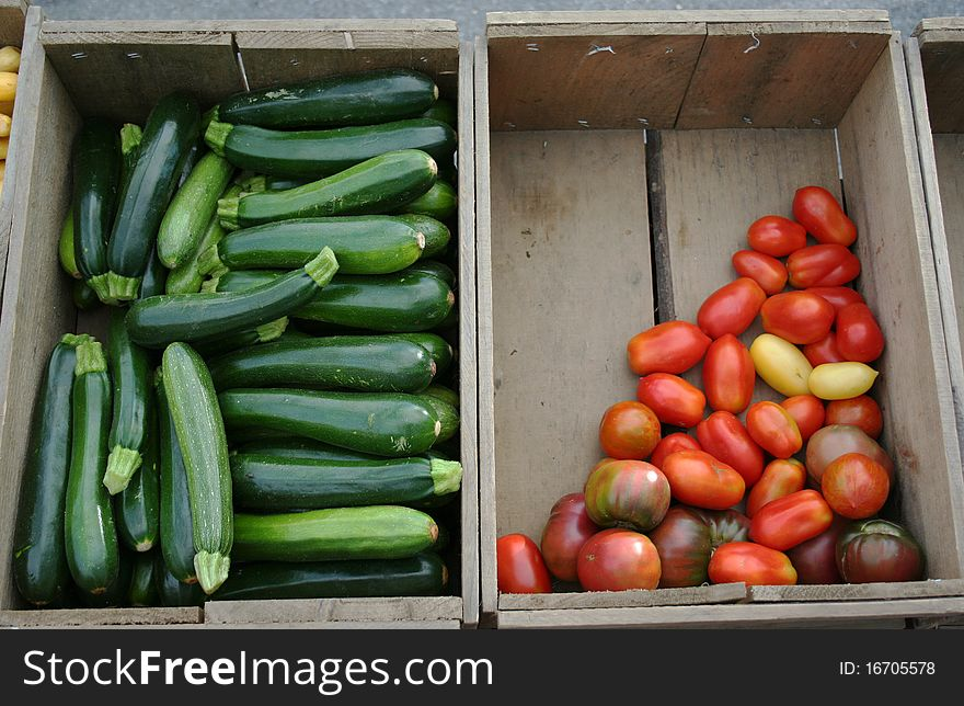 Farm stand zucchini and tomatoes