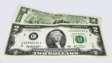 United States Two Dollar Bills Royalty Free Stock Photos