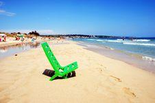 Green Deckchair Royalty Free Stock Photography