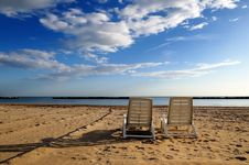 Free Couple Of Deckchairs Stock Images - 16713704