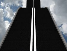 Road Leading Into The Sky. 3D Royalty Free Stock Photography