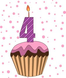 Free Cup Cake With Numeral Candles Royalty Free Stock Images - 16718499