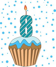 Free Cup Cake With Numeral Candles Stock Photography - 16718552