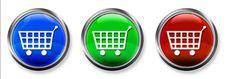 Free Shopping Cart 3-D RGB Button Stock Photos - 16721423
