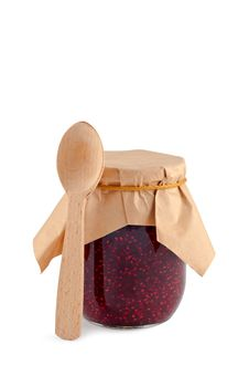 Free Jam In Jar Wooden Spoon Isolated. Royalty Free Stock Images - 16722519