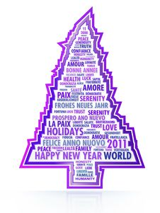 The Tree Of Magic Words Of The New Year Royalty Free Stock Photos