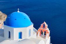 Free Blue Church At Santorini Stock Image - 16723101