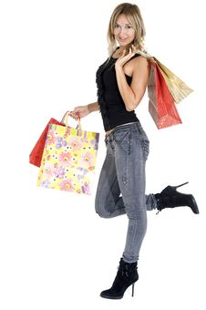 Free Sexy Blond Woman With Shopping Bags Stock Photo - 16724270