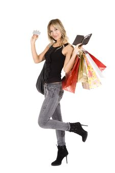 Free Sexy Blond Woman With Shopping Bags Stock Photography - 16724272