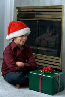 Free Boy In Santa Hat Waiting Stock Images - 16725014