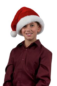 Free Boy And Santa Hat Stock Photography - 16725082
