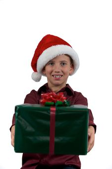 Boy Giving A Present Royalty Free Stock Image