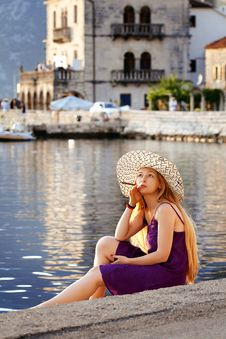 Free Beautiful Woman Relaxing By The Sea In Montenegro Stock Images - 16725274