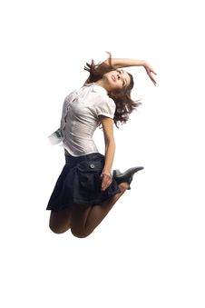 Free Girl In Skirt Jumping  Isolated White Royalty Free Stock Photos - 16725528