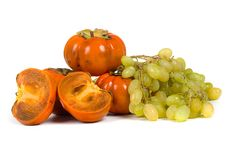 Free Ripe Persimmons And Grapes Stock Photography - 16726012