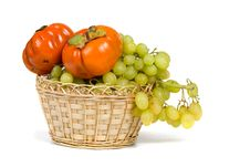 Free Ripe Persimmons And Grapes Stock Photo - 16726020
