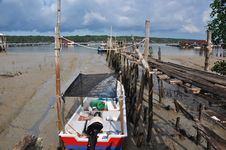 Boats In Kukup Fishing Village Royalty Free Stock Photography