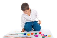 Free 4 Year Old Boy With Bright Paint Royalty Free Stock Photography - 16728557