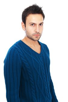 Attractive Young Man With Dark Eyes Royalty Free Stock Photography