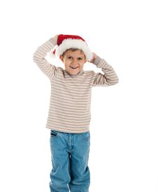 Free Little Boy In A Santa Claus Hat Royalty Free Stock Image - 16728726