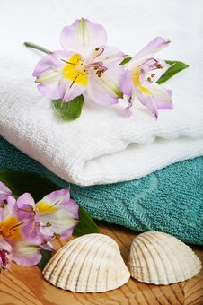 Free Towels And Floral Decoration In Spa Stock Image - 16728891