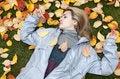 Free Beautiful Girl Rests Upon Autumn Sheet Stock Image - 16731651