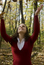 Free Young Woman Tossing Leaves Stock Photography - 16737252