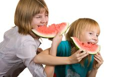 Free Girl Eating Watermelon Royalty Free Stock Images - 16730499
