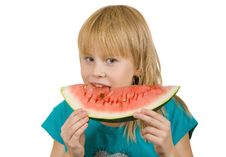 Free Girl Eats Watermelon Stock Photography - 16730562