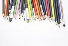 Free Paint Brushes And Color Pencils Stock Photo - 16732450