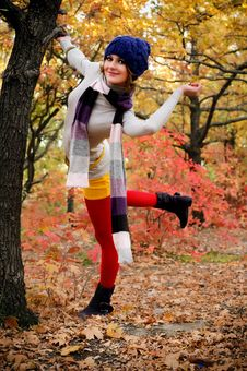Free The Girl In Autumn Wood Stock Photos - 16732713