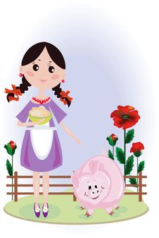Free Girl With Pig Royalty Free Stock Photos - 16732728