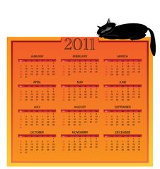 2011 Calendar With Cat 01 Stock Image