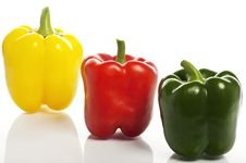 Free Three Colourful Peppers On The White Background Stock Image - 16733251