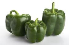Free Three Green Fresh  Peppers On The White Background Royalty Free Stock Photography - 16733307