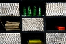 WOODEN BOX ON  RACK  Wood Weave Glass Stock Photo