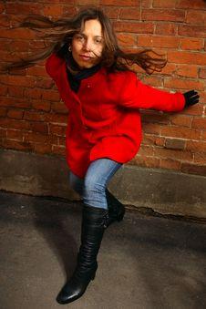Free Girl At A Brick Wall Royalty Free Stock Photography - 16734307