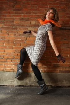 Free Girl At A Brick Wall Royalty Free Stock Image - 16734356