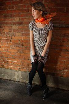 Free Girl At A Brick Wall Royalty Free Stock Images - 16734489