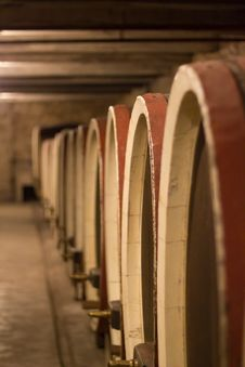 Barrels In A Wine Cellar Stock Photo