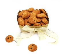 Free Gold Box With Cookies Royalty Free Stock Image - 16735046
