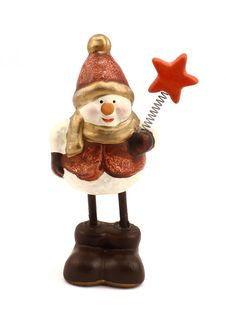 Figurine Of The Snowman With A Star Stock Photo