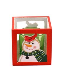 Red Candlestick With The Snowman And Green Candle Stock Images