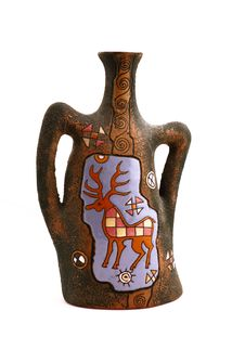 Ceramic Vase With A Deer Royalty Free Stock Images