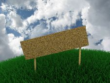 Free Sign In The Grass Against The Sky Stock Photo - 16735320