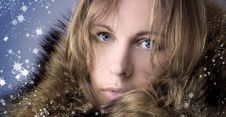 Free Beautiful Girl In A Winter Fur Collar Stock Images - 16737214